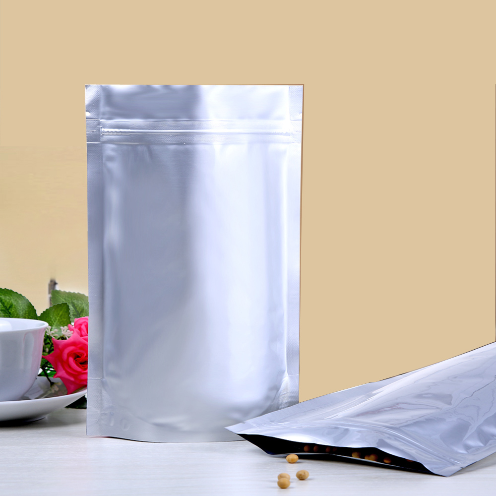 100pcs/lot 17cm*24cm*240micron High Quality Al Foil Bag Packing Plastic Stand Up Bags With Zipper Wholesale(China (Mainland))