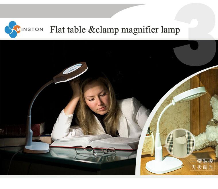 Multi-purpose magnifier led Magnifying loupe Glasses Desk Table Reading Lamp Light KS-1081T flat or clamp on the table model