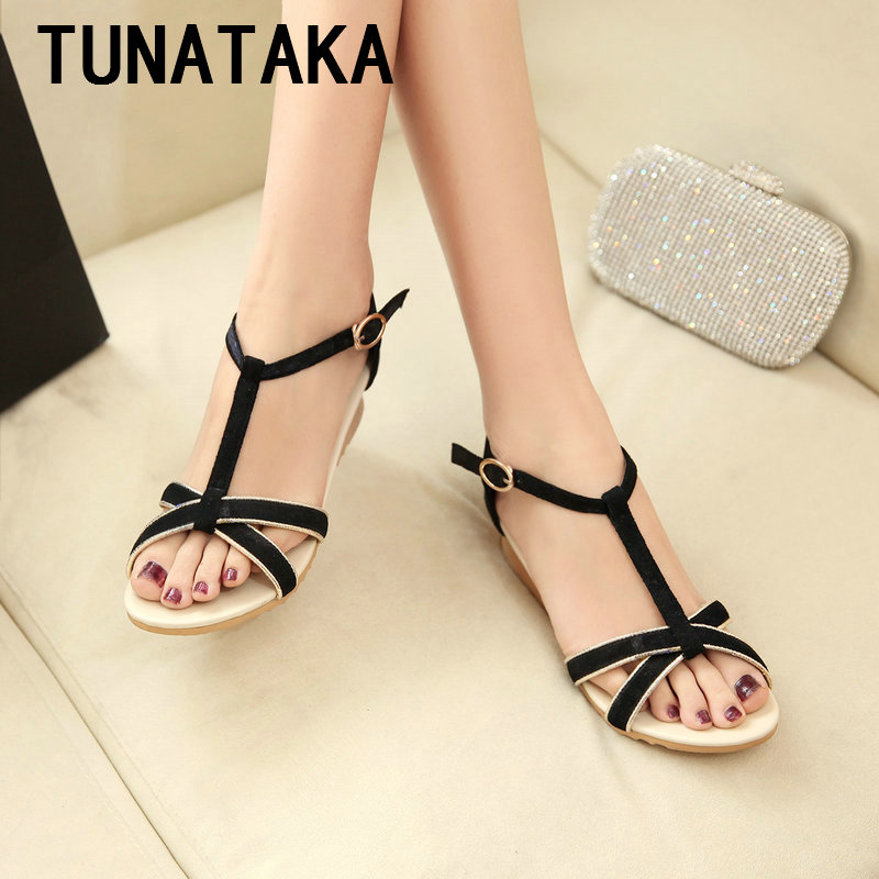Sexy Genuine Leather Fladiator Sandals 2016 Summer New Women T-strap Wedge Heel Shoes<br><br>Aliexpress