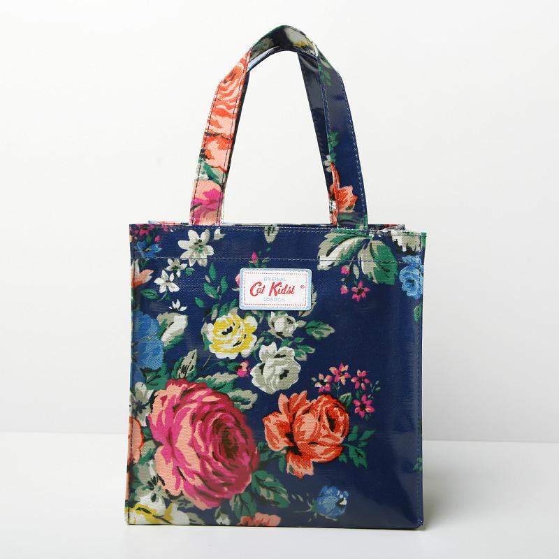 British Pastoral Floral Pattern Waterproof PVC Shopping Bag Fashion Canvas Handbags Shopper Bag Two Sizes free shipping(China (Mainland))