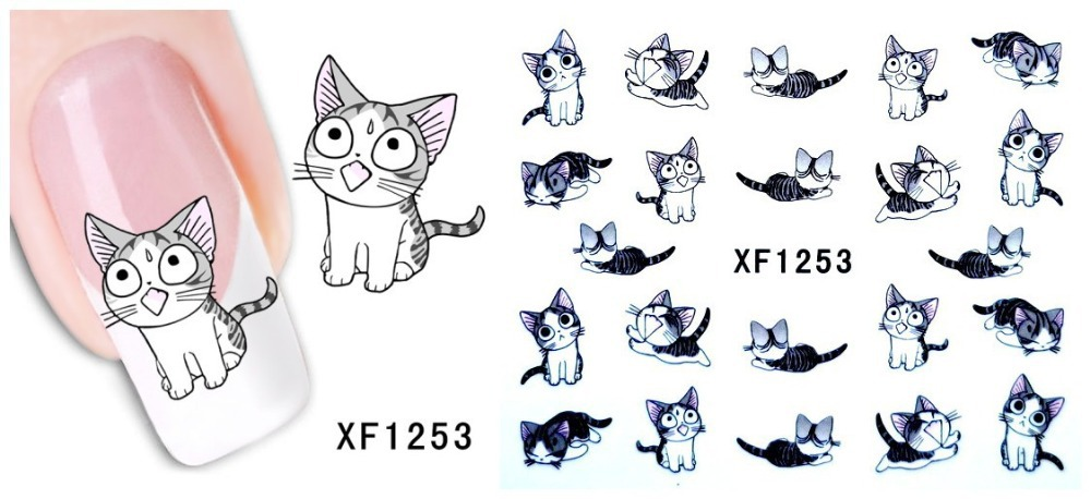 [D-XFXF1253]1 Sheet Nail Art Water Transfer Sticker Decals Cute Cats New Stickers Decorations Watermark Tools for Polish(China (Mainland))