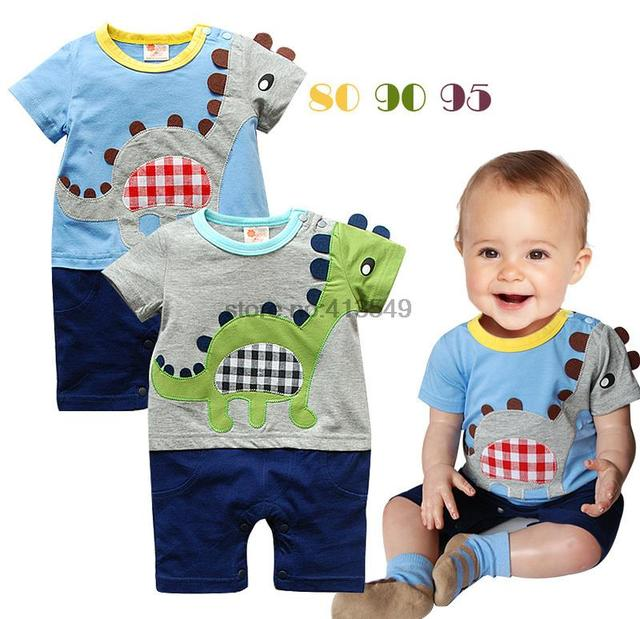 Лето девочки-младенцы мальчики одежда комикс вышивка динозавр ползунки младенческой комбинезон новорожденный одежда