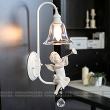 Nodic home white color angel boy K9 crystal resin wall lamp lighting fixture for indoor free shipping