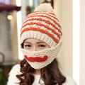 2016 Novelty Winter Striped Knit Ski Face Mask hats Beanies Thicken Crochet Beard Unisex Balaclava Bonnets