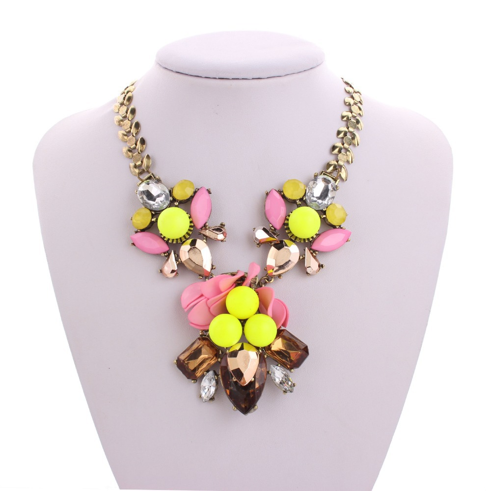 Multicolor Set Auger Gem Statement Necklace Pendants & Necklaces Flower Vintage Colar Fine Jewerly Accessories For Women(China (Mainland))