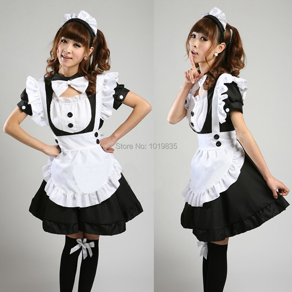 Waitress French Maid Fancy Dress Short Sleeve Costume Cosplay Party Blue/Black 047-4107(China (Mainland))