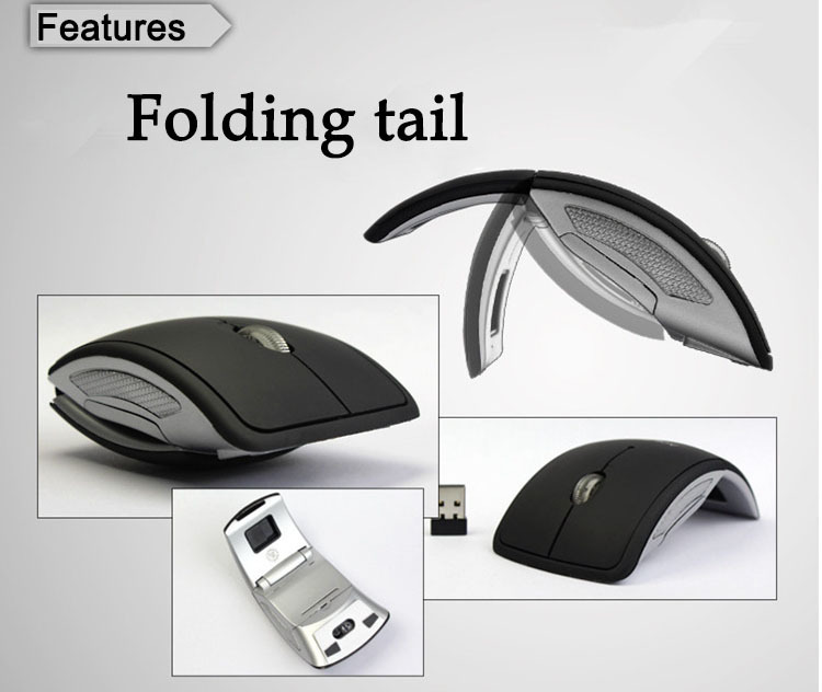 Mini 2.4GHz Optical Mouse Wireless Arc Foldable Folding Mouse/Mice 6 candy color + USB 2.0 Receiver for PC Laptop Travel(China (Mainland))