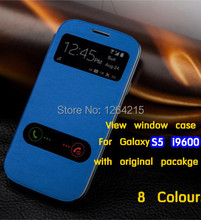 For Samsung Galaxy Galaxy S5 SV I9600 double View Window Back Battery Housing Cover Flip Leather Cases Case