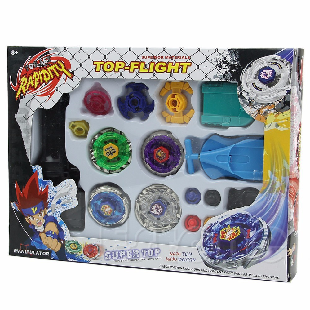 Kids Beyblade Spining Tops New Metal Fight Fusion Top Rapidity Fight Master Rare Beyblade 4D Launcher Grip Set(China (Mainland))