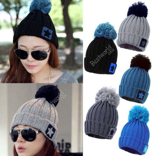 High Quality 2015 Fashion Unisex Women Men hip hop Star Knit Crochet Ski Knitted Winter Warm Hat Beanie Caps 5 Colors(China (Mainland))