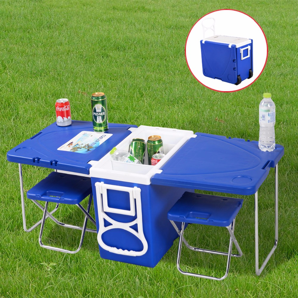 Multi Function Rolling Cooler With Table And 2 Chairs Picnic Camping Outdoor Free Shipping HW51118(China (Mainland))
