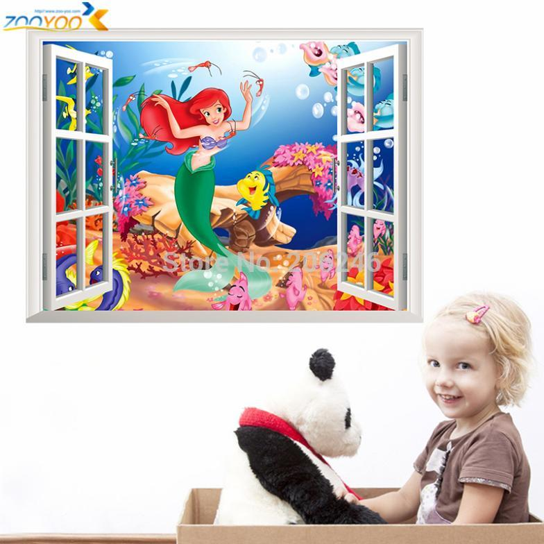 the little mermaid wall stickers for kids rooms ZooYoo1424 home decoration diy 3d window sticker wall decal for girls room(China (Mainland))