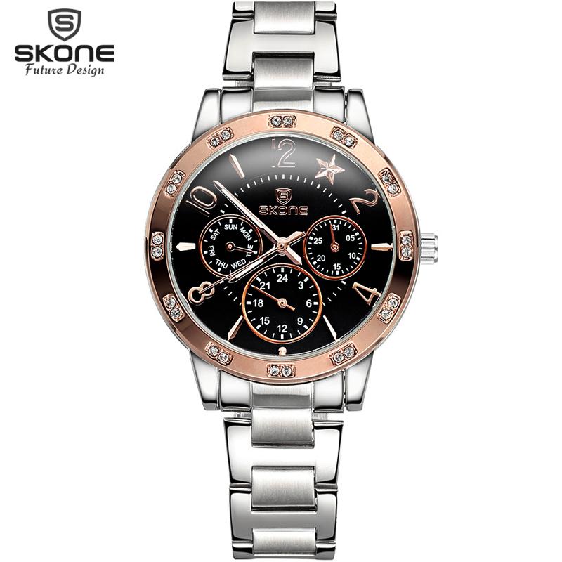 skone chronograph luminous rhinestone gold