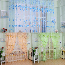 Voile Curtain Chic Room New Tulip Floral Tulle Door Window Screening Curtain Sheer Drape Panel Scarfs Valances Beads Tassel V1NF(China (Mainland))