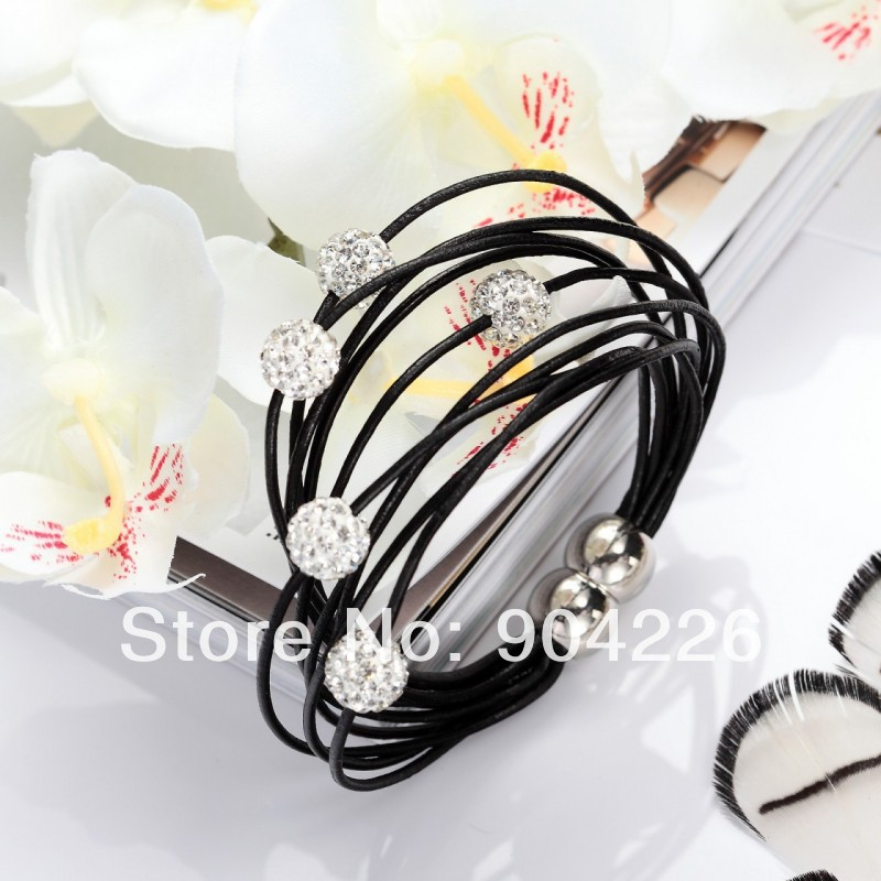 10 bracelets/lot wholesale summer cool magnetic clasp Genuine leather jewelry shamballa beads bracelets/bangle free ship(China (Mainland))