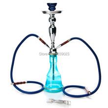 HOT straight wholesale 1pcs 46cm 18 2 hose glass smoking hookah pipe complete set hookah shisha