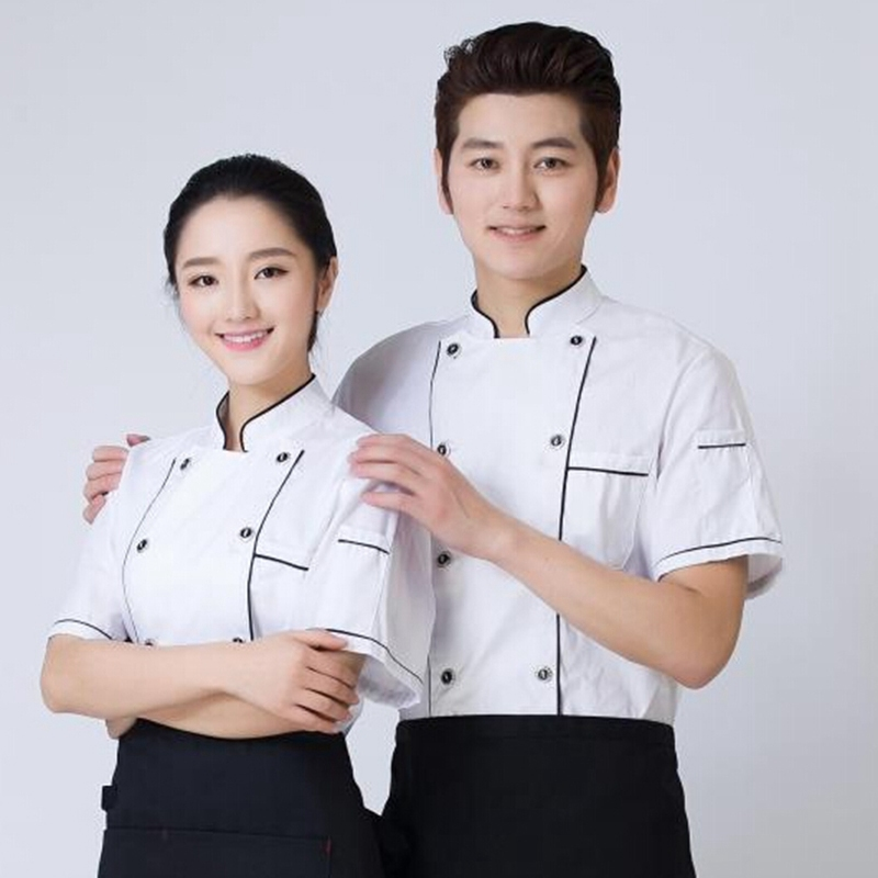 Good Quality Work Uniform Hotel Restaurant Kitchen Chef Clothes Food Service Chef Clothing Summer Short Sleeved Chef Jacket(China (Mainland))