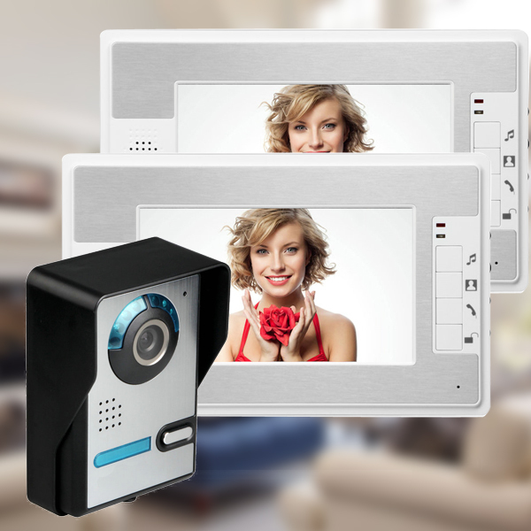 "Cheap! Wholesale 7"" inch Color LCD Wired Video Door Phone 2 White Monitor Video Intercom Camera Access Entry System FREE SHIP(China (Mainland))"