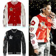 Kpop Bigbang Coat G-dragon Jacket 2015 New Winter Bigbang GD Badge Baseball Uniform Korean Casual Sweatshirt Bigbang Jacket(China (Mainland))