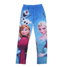 2016 Girls Leggings Elsa  Girls Leggings Christmas Costume Anna Olaf Kids Leggings For Girls Blue Girls Pants Leggings