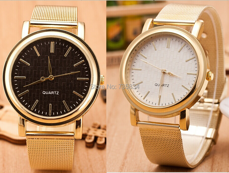Wholesale 200pcs/lot Quartz Casual watch Bright Gold band Women watch Brand Metal Mesh Stainless Steel watch MW041<br><br>Aliexpress