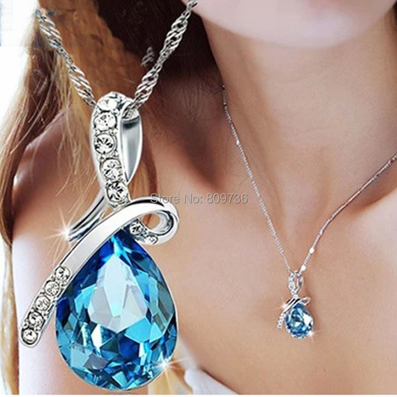 Hot Women Crystal Rhinestone Drop Chain Necklace Pendant For Women Jewelry Statement Bijouterie Accessories Gift 2015(China (Mainland))