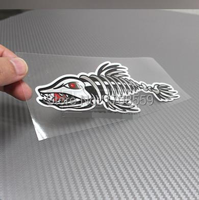 COOL Less auspicious Evil Fish Personality Outdoor Fishing Car Sticker Fish Bone Motorcycle Decals Skull Fish Free Shipping(China (Mainland))