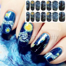 1 Sheet Nail Wraps Mysterious Starry Sky Night Patterned Full Nail Sticker #18954(China (Mainland))