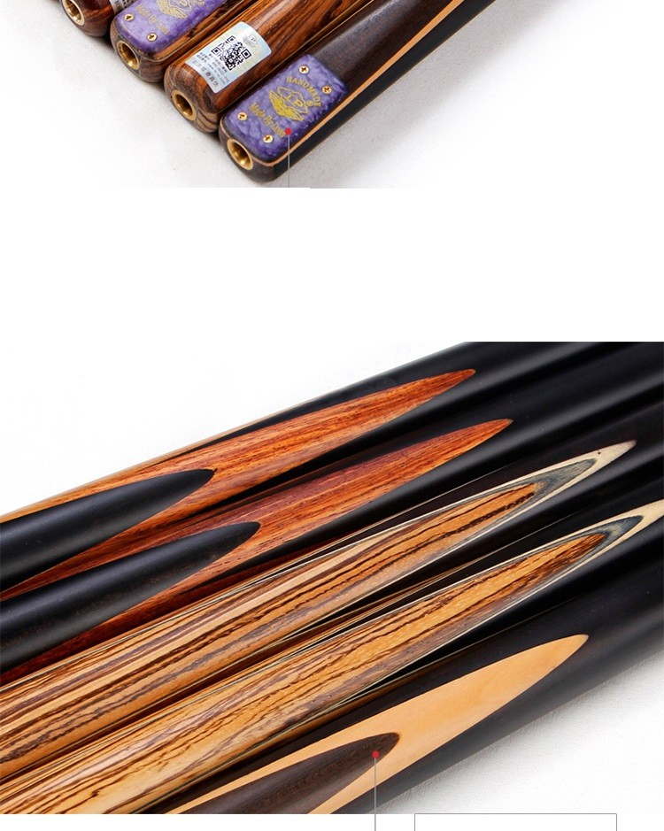 """Free Shipping 3/4-Piece hand spliced ash shaft Billiard Pool cue sticks, 57"""" ebony snooker player wooden rod with mini butt(China (Mainland))"""