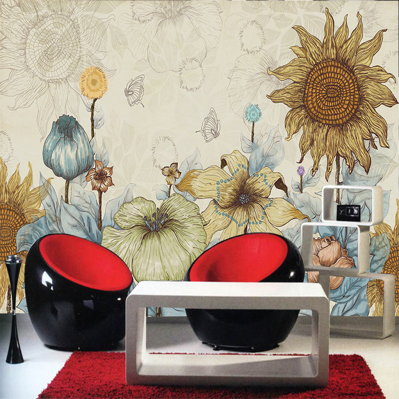 Compare prices on abstract vintage wallpaper online for Mural vision tv