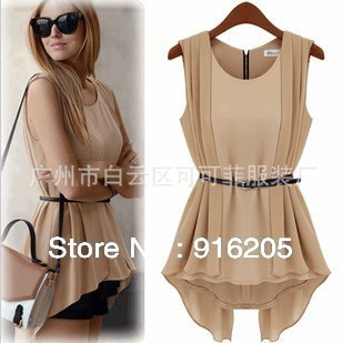 2013 summer nibbuns of stars the same paragraph irregular avant-garde fashion blouse + belt