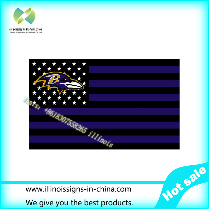 Baltimore Ravens black and purple background with stars and stripes Flag 3FTx5FT Banner 100D Polyester flag 90x150cm(China (Mainland))