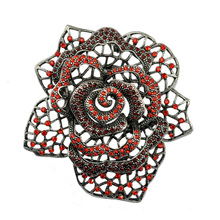 Large Size Rose Flower Metal Brooch Pin Crystal Rhinestone Fashion Jewelry Accessory For Women Factory Sale