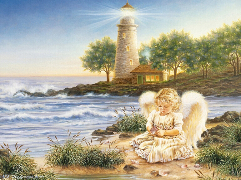 Full Paste 5D DIY Diamond Painting Baby Angel Beacon Lighthouse Cross Stitch Of Diamonds Embroidery Mosaic Home Room Decoration(China (Mainland))