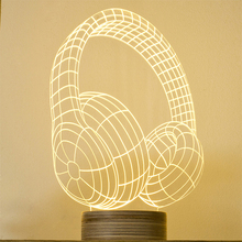 Free Shipping HeadPhones Wood 3D Lamp Kids Room Art Deco Night Light