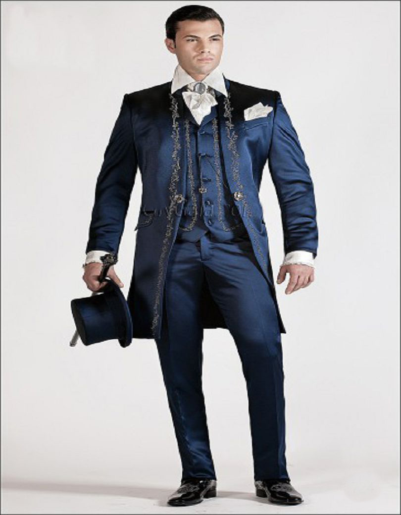 2016 Custom Made Blue Satin Korean Style Suit With Silver Embroidery Groom Tuxedos Man Wedding Suit(jacket+pants+vest)(China (Mainland))