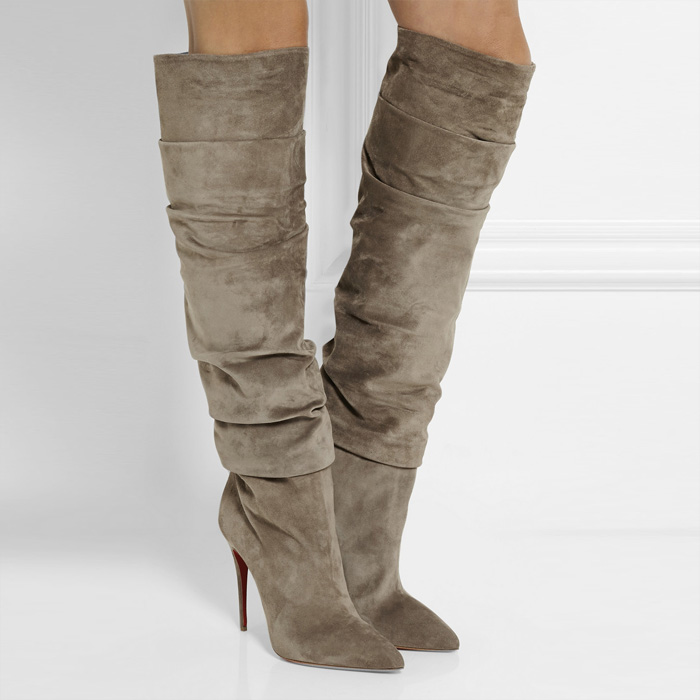 Fall Suede Thin High Heels Botas Mujer Pointed Toe Nubuck Leather Slip-On Pleated  Knee-High Women Boots Botas Shoes Woman Boots