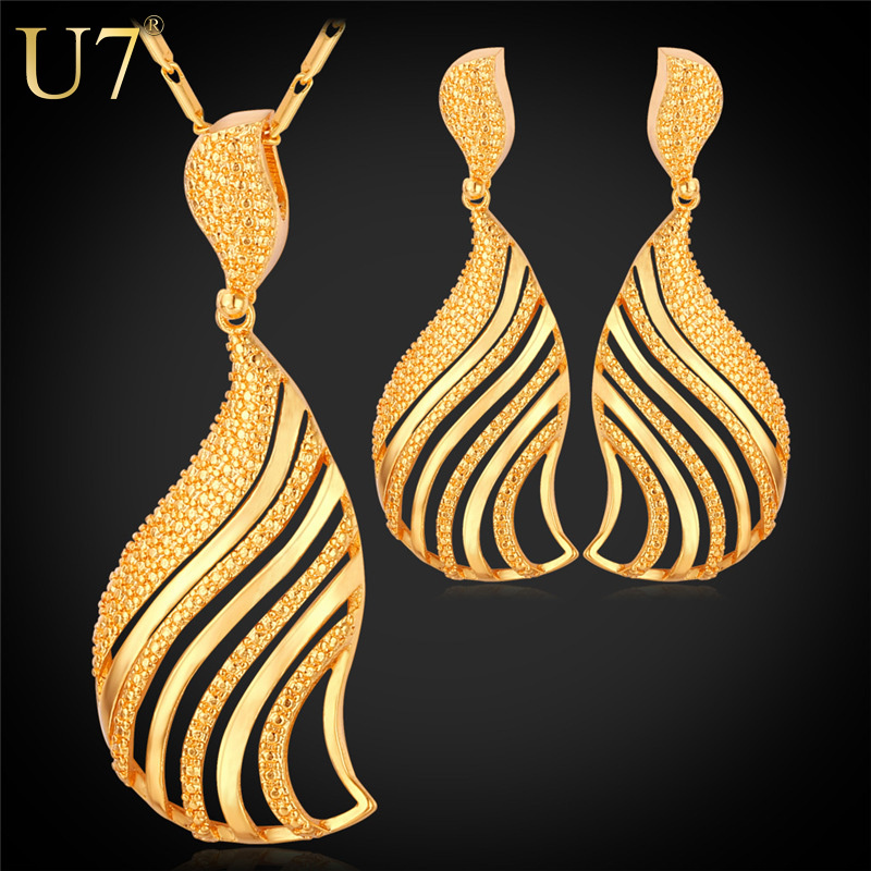 U7 Dubai Gold Plated Jewelry Set Fashion African Jewelry 18K Gold Plated Hollow Fan-Shaped Earrings Necklace Set For Women S664(China (Mainland))