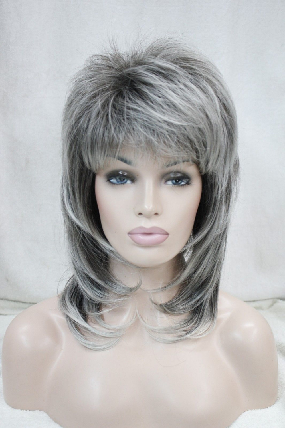 HOT sell Free Shipping &gt;&gt;&gt;New medium length grey dark root layered shoulder long synthetic female full wig<br><br>Aliexpress