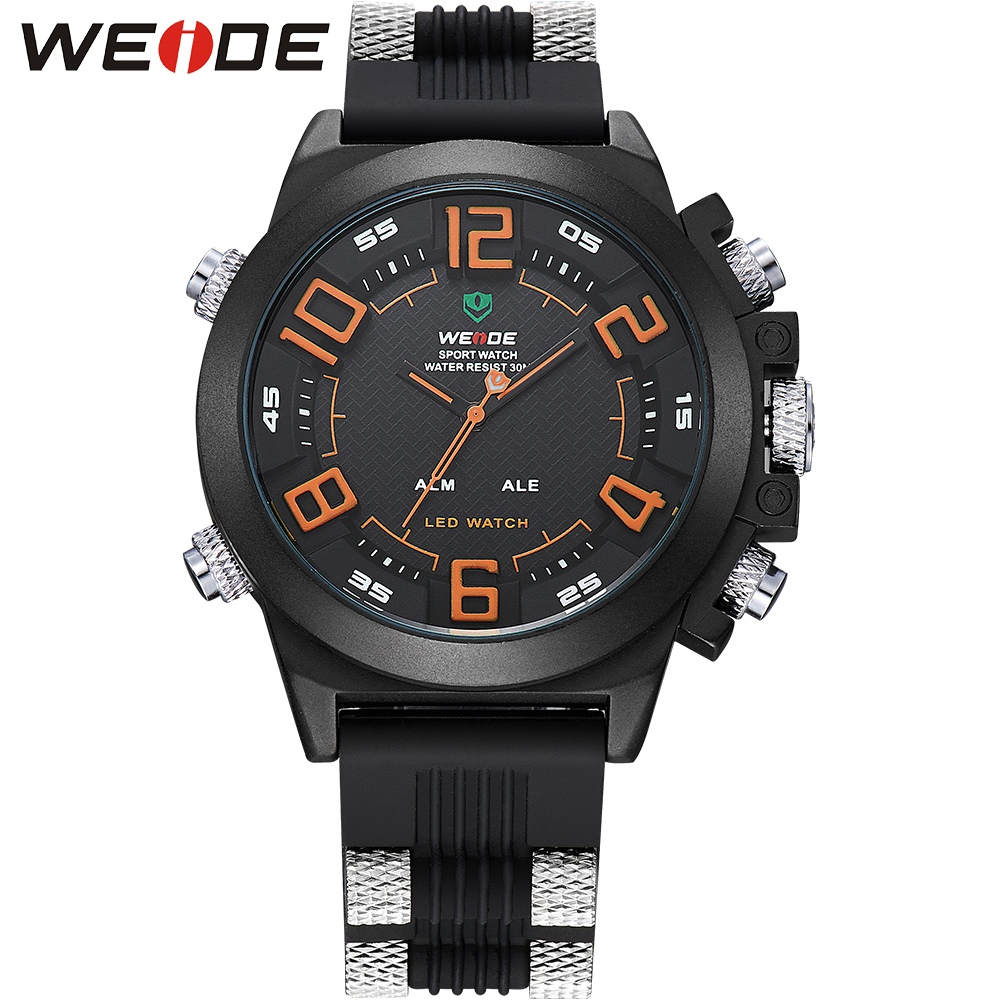 WEIDE Popular Brand LED Sport Watch Relogio For Men Analog Digital 30m Waterproof Silicone Strap Quartz Men Wristwatches<br><br>Aliexpress