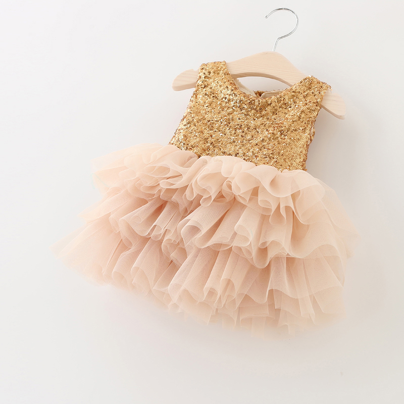 Golden Sequined Princess Kids Dress Patchwork Layered Mesh Two Super Bow Girls Dresses for Wedding vetement fille Size 1-6T(China (Mainland))