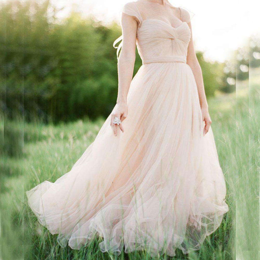 Buy gorgeous tulle wedding dress in blush for Tulle a line wedding dress