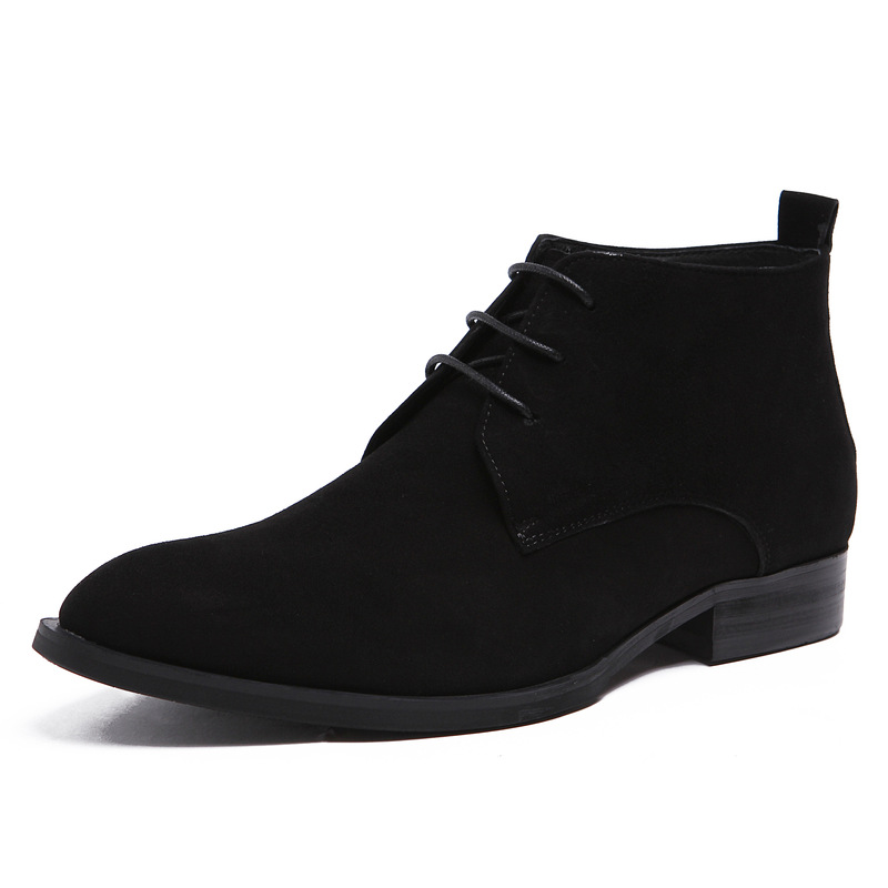 2015 italian classic luxury fashion suede leather mens ankle boots black men shoes for business wedding 285(China (Mainland))