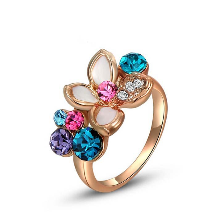Fashion Jewelry 18K Rose Gold 5 Colors Crystal Rings for Women High Quality Gold Plated Colorful Ring(China (Mainland))