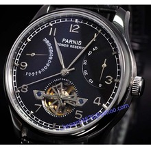 Parnis watch 43mm power reserve Black dial seagull movement date Automatic Self-Wind Men's watch P049(China (Mainland))