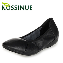 New women work shoes big size 35-43 black single shoes genuine leather flat heel shoes women comfortable leather casual shoes