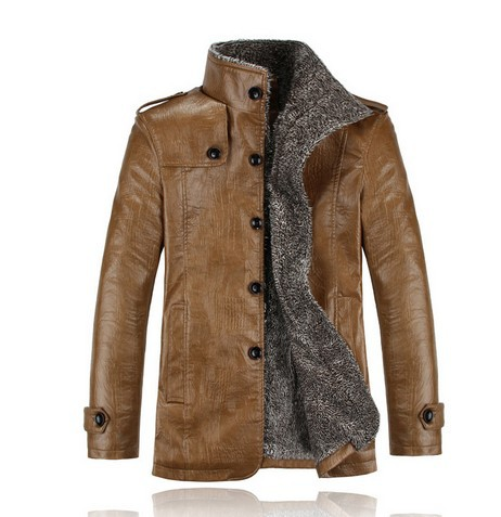 PU Leather Jacket Men Winter Jackets and Coats Thickening Wool Windbreak Waterproof Warm Skin Lamb Fur Trench Coat Plus Size 3XL()