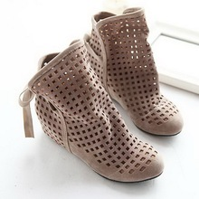 2016 New Fashion Big size 43 Summer Boots Women Flock Flat shoes Low Hidden Wedges Solid Cut-outs Ankle Boot Ladies Casual Shoes(China (Mainland))