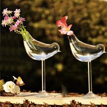 creativo pájaro alto florero de cristal decoración del hogar jarrón decoración del hotel flor de contenedores(China (Mainland))