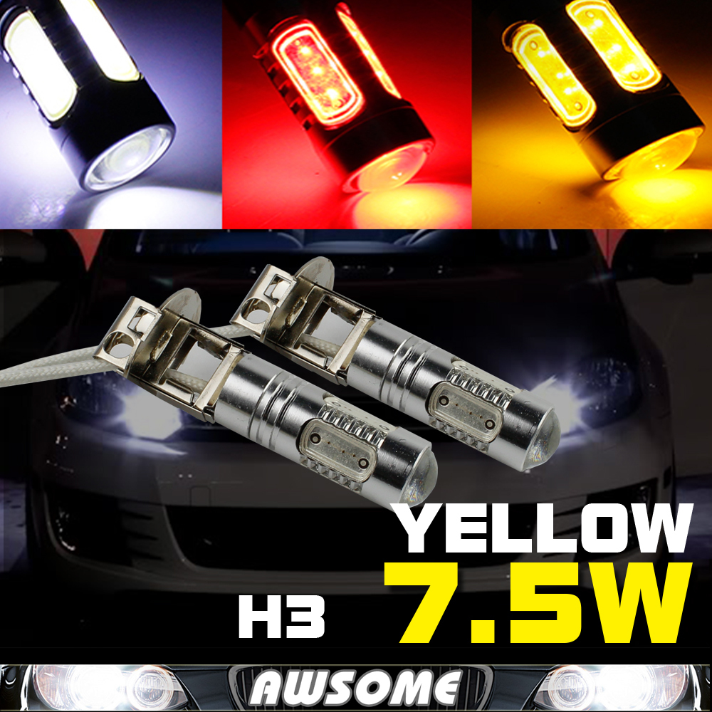 2x COB Chip H3 7.5W 12/24V Car CREE LED DRL Day Driving Daytime Running Fog Headlight Auto Lighting Bulb White Red Yellow Amber(China (Mainland))